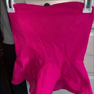 Hot Pink Strapless Blouse